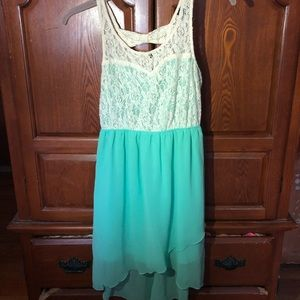 Mint green and white high low dress